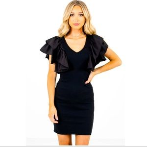 French Connection Black Ruffle Sleeve Wiggle Dress